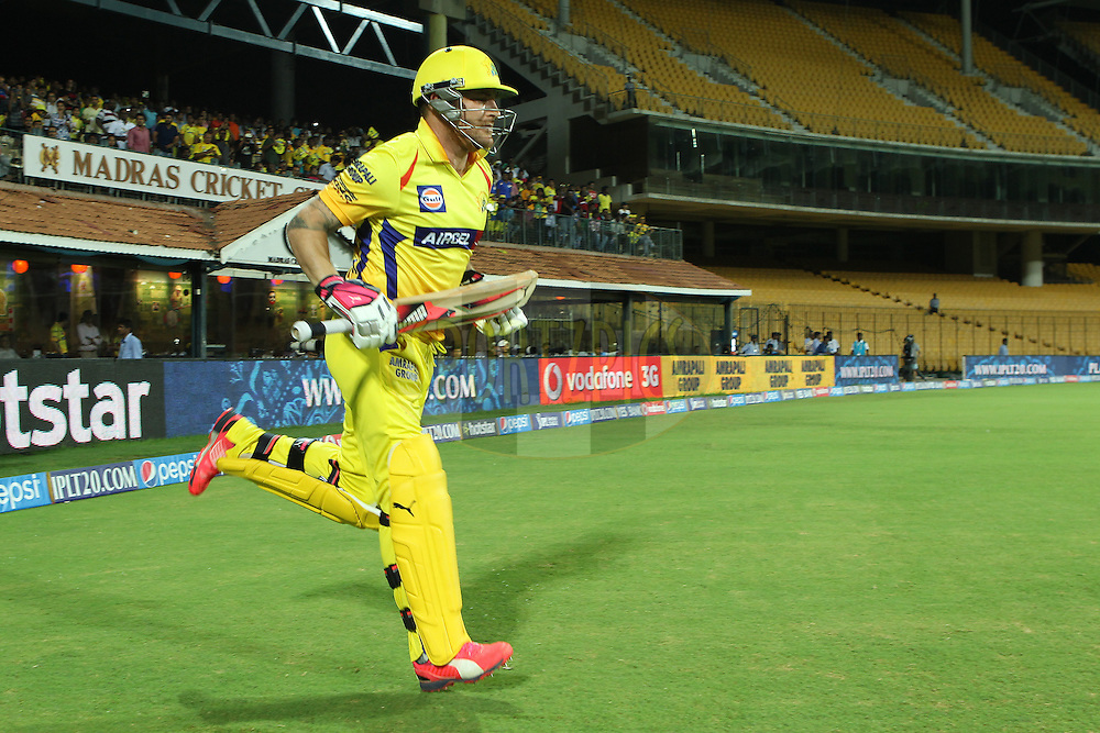Brendon McCullum of the Chennai Superkings opens for CSK during match 43 of the Pepsi IPL 2015 (Indian Premier League) between The Chennai Superkings and The Mumbai Indians held at the M. A. Chidambaram Stadium, Chennai Stadium in Chennai, India on the 8th May April 2015.<br /> <br /> Photo by:  Ron Gaunt / SPORTZPICS / IPL