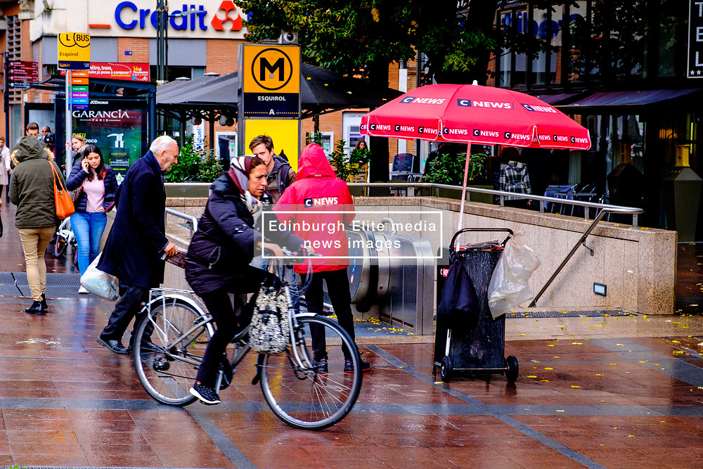 Street scene at a Metro station in the rain in Toulouse, France<br /> <br /> (c) Andrew Wilson | Edinburgh Elite media