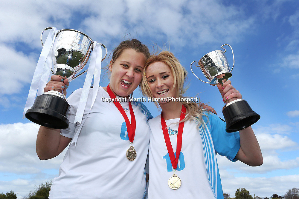 Chloe Jones (L) captain of Coastal Spirit celebrates with Player of the Day Briar McNamara after winning the ASB Women's Knockout Cup Final - Coast Spirit v Glenfield Rovers at ASB Park, Christchurch, New Zealand. 15 September 2013. Photo: Martin Hunter/photosport.co.nz