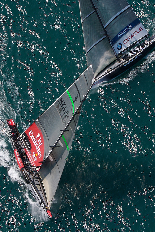 SPAIN, Valencia, April 6 2007,Louis Vuitton Act 13, Race 4, Emirates Team New Zealand NZL 84 crosses BMW Oracle USA 87