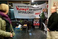 08 JAN 2011, BERLIN/GERMANY:<br /> Transparent der DKP &quot;Der Hauptfeind steht im eigenen Land! Kampf dem deutschen Imperialismus!&quot;, 16. Internationale Rosa-Luxenburg-Konferenz, Urania Haus<br /> IMAGE: 20110108-01-004<br /> KEYWORDS: Kommunismus, Deutsche Kommunistische Partei
