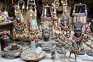 African art, artefacts, sculpture and souvenirs for sale at craft market, Lekki, Lagos, Nigeria.