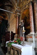 Detail of interior of Cathedral of Saint Jacob (Sveti Jakova), Sibenik, Croatia, showing statue of Christian martyr burning at the stake. Sometimes also referred to as Cathedral of Saint James.