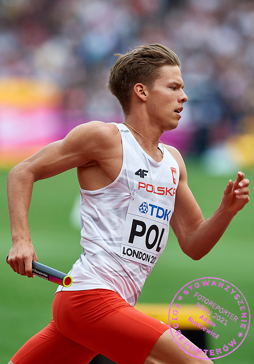 Great Britain, London - 2017 August 12: Tymoteusz Zimny (Baszta Szamotuly) of Poland competes in men&rsquo;s 4x400 meters relay qualification during IAAF World Championships London 2017 Day 9 at London Stadium on August 12, 2017 in London, Great Britain.<br /> <br /> Mandatory credit:<br /> Photo by &copy; Adam Nurkiewicz<br /> <br /> Adam Nurkiewicz declares that he has no rights to the image of people at the photographs of his authorship.<br /> <br /> Picture also available in RAW (NEF) or TIFF format on special request.<br /> <br /> Any editorial, commercial or promotional use requires written permission from the author of image.
