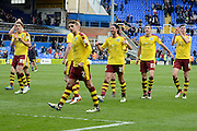Burnley players celebrate the win with the fans during the Sky Bet Championship match between Birmingham City and Burnley at St Andrews, Birmingham, England on 16 April 2016. Photo by Alan Franklin.