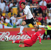 Mesut Ozil goes close for Germany during the 2010 World Cup Soccer match between England and Germany in a group 16 match played at the Freestate Stadium in Bloemfontein South Africa on 27 June 2010.