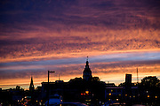 "Annapolis, Maryland - June 05, 2016: Red Sky at Night, sailor's delight. Two brief thunderstorms rolled through Annapolis June 5th, 2016, and left a colorful skyline foretelling a calm night. Annapolis is one of the coastal cities in the US that is the most prone to nuisance flooding. Thunderstorms are a more common cause of nuisance flooding, but on that particular Sunday, a perigean spring tide brought some of the highest tide waters of the year to Annapolis.<br /> <br /> <br /> A perigean spring tide brings nuisance flooding to Annapolis, Md. These phenomena -- colloquially know as a ""King Tides"" -- happen three to four times a year and create the highest tides for coastal areas, except when storms aren't a factor. Annapolis is extremely susceptible to nuisance flooding anyway, but the amount of nuisance flooding has skyrocketed in the last ten years. Scientists point to climate change for this uptick. <br /> <br /> <br /> CREDIT: Matt Roth for The New York Times<br /> Assignment ID: 30191272A"