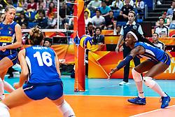 20-10-2018 JPN: Final World Championship Volleyball Women day 21, Yokohama<br /> Serbia - Italy 3-2 / Ofelia Malinov #5 of Italy, Paola Ogechi Egonu #18 of Italy