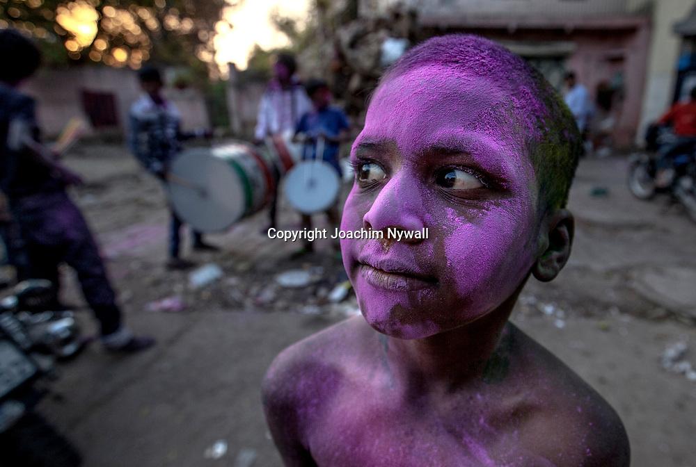 Delhi 2017 03 12 Indien<br /> Holi hinduernas v&aring;rfest eller f&auml;rgfest firas i Paharganj, Delhi India<br /> <br /> <br /> ----<br /> FOTO : JOACHIM NYWALL KOD 0708840825_1<br /> COPYRIGHT JOACHIM NYWALL<br /> <br /> ***BETALBILD***<br /> Redovisas till <br /> NYWALL MEDIA AB<br /> Strandgatan 30<br /> 461 31 Trollh&auml;ttan<br /> Prislista enl BLF , om inget annat avtalas.