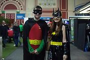Young Fans in Fancy Dress Batman & Robin style during the PDC World Darts Championship Final at Alexandra Palace, London, United Kingdom on 3 January 2016. Photo by Phil Duncan.
