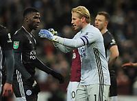 Football - 2019 / 2020 EFL Carabao (League) Cup - Semi-Final, Second Leg: Aston Villa (1) vs. Leicester City (1)<br /> <br /> Leiester goalkeeper, Kasper Schmeichel talks to Kelechi Iheanacho at Villa Park.<br /> <br /> COLORSPORT/ANDREW COWIE