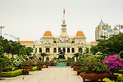 27 MARCH 2012 - HO CHI MINH CITY, VIETNAM:   The Hotel de Ville building on Nguyen Hue Road in Ho Chi Minh City, Vietnam. Ho Chi Minh City, which used to be known as Saigon, is the largest city in Vietnam and the commercial hub of southern Vietnam.    PHOTO BY JACK KURTZ