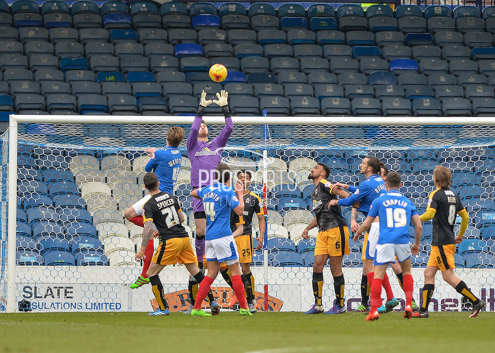 Cambridge United Goalkeeper Will Norris claims a cross during the Sky Bet League 2 match between Portsmouth and Cambridge United at Fratton Park, Portsmouth, England on 27 February 2016. Photo by Adam Rivers.