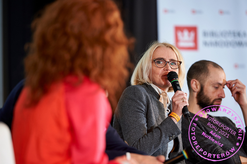Warsaw, Poland - 2017 April 07: Barbara Toczko - Head of Air and Noise Monitoring at the Environmental Monitoring and Information Department speaks during The Day of Health - science conference in the National Library on April 07, 2017 in Warsaw, Poland.<br /> <br /> Mandatory credit:<br /> Photo by © © Adam Nurkiewicz / Mediasport / Mediasport<br /> <br /> Picture also available in RAW (NEF) or TIFF format on special request.<br /> <br /> Any editorial, commercial or promotional use requires written permission from the author of image.<br /> <br /> Adam Nurkiewicz declares that he has no rights to the image of people at the photographs of his authorship.