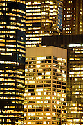 close up of office high rise at night Down town New York City