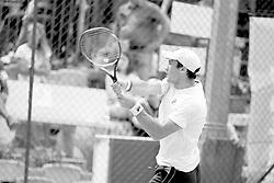 June 23, 2018 - L'Aquila, Italy - (EDITORS NOTE: Image has been converted to black and.white.) Facundo Bagnis during match between Facundo Bagnis (ARG) and Guilherme Clezar (BRA) during Men Semi-Final match at the Internazionali di Tennis Citt dell'Aquila (ATP Challenger L'Aquila) in L'Aquila, Italy, on June 23, 2018. (Credit Image: © Manuel Romano/NurPhoto via ZUMA Press)
