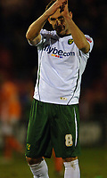 Photo: Paul Greenwood.<br />Blackpool v Norwich City. The FA Cup. 27/01/2007. Norwich's Peter Thorne applauds the 1700 travelling fans