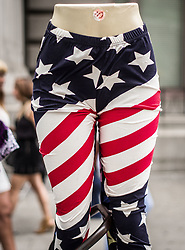 August 8, 2017 - New York City, New York, United States of America - USA flag pants on a manequin sold by a street vendor in front of the United States Bankruptcy Court, lower Manhattan, NYC. (Credit Image: © Sachelle Babbar via ZUMA Wire)