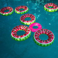 Pool floats, swimming pool, summer, graphic, blue pink