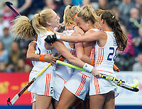 LONDON -  Unibet Eurohockey Championships 2015 in  London. final women  Netherlands v England (2-2) , England wins shoot outs. Dutch team  celebrate the first goal.  WSP Copyright  KOEN SUYK