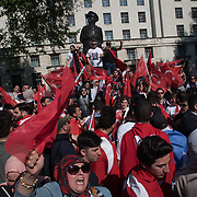 Hundreds of Pro-Turkeys fills Whitehall with reds with Turkey red flags to welcome Erdogan the Turkey President to downing street with heavy police of guards on 15 May 2018, London, UK.