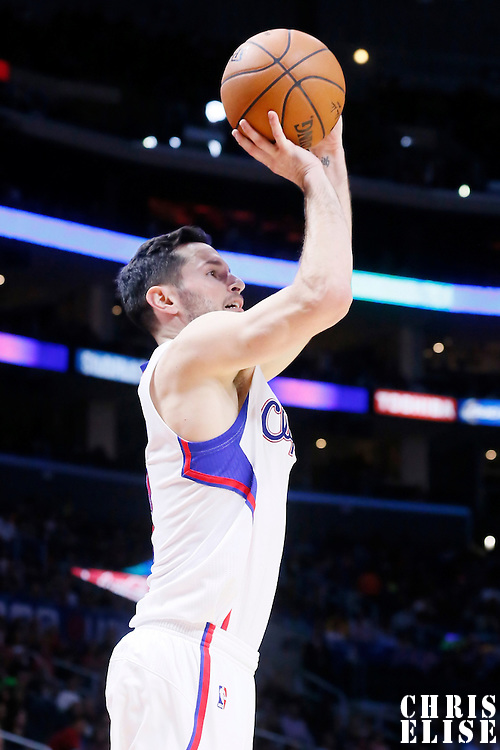 17 October 2014: Los Angeles Clippers guard J.J. Redick (4) takes a jump shot during the Los Angeles Clippers 101-97 victory over the Utah Jazz, in a preseason game, at the Staples Center, Los Angeles, California, USA.