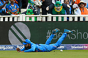 KL Rahul of India prevents a boundary during the ICC Cricket World Cup 2019 match between Bangladesh and India at Edgbaston, Birmingham, United Kingdom on 2 July 2019.
