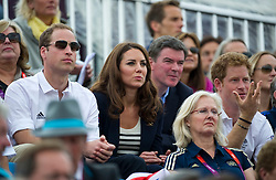 Duke and Duchess of Cambridge  watching  the Team GB show jumping at the London 2012 Olympics , Tuesday 31st July 2012 Photo by: i-Images
