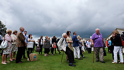 © Licensed to London News Pictures.14/07/15<br /> Harrogate, UK. <br /> <br /> Crowds gather to wait for a glimpse of HRH The Prince of Wales and the Duchess of Cornwall during their visit on the opening day of the Great Yorkshire Show.  <br /> <br /> England's premier agricultural show opened it's gates today for the start of three days of showcasing the best in British farming and the countryside.<br /> <br /> The event, which attracts over 130,000 visitors each year displays the cream of the country's livestock and offers numerous displays and events giving the chance for visitors to see many different countryside activities.<br /> <br /> Photo credit : Ian Forsyth/LNP