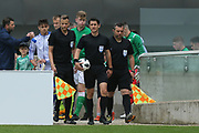 Referee Halil Umut Meler of Turkey leads out the teams during the UEFA European Under 17 Championship 2018 match between Bosnia and Republic of Ireland at Stadion Bilino Polje, Zenica, Bosnia and Herzegovina on 11 May 2018. Picture by Mick Haynes.