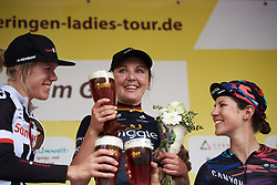 Cheers! For the top three: Lisa Brennauer (GER), Ellen van Dijk (NED) and Elena Cecchini (ITA) at Lotto Thuringen Ladies Tour 2018 - Stage 4, a 118 km road race starting and finishing in Gera, Germany on May 31, 2018. Photo by Sean Robinson/Velofocus.com