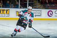 KELOWNA, CANADA - MARCH 7:  James Hilsendager #2 of the Kelowna Rockets skates against the Vancouver Giants on March 7, 2018 at Prospera Place in Kelowna, British Columbia, Canada.  (Photo by Marissa Baecker/Shoot the Breeze)  *** Local Caption ***