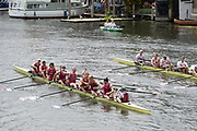 Henley on Thames, England, United Kingdom, Sunday, 07.07.19,Oxford Brookes University A (foreground) and <br /> Hollandia Roeiclub, Netherlands, NED,  (background), after crossing the line, in the Final, of The Ladies' Challenge Plate, Henley Royal Regatta,  Henley Reach, [©Karon PHILLIPS/Intersport Images]<br /> <br /> 13:17:31 1919 - 2019, Royal Henley Peace Regatta Centenary,
