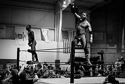 Jon and Trey Williams, Washington Bullets, celebrate after winning their match during Old School Championship Wrestling Sunday, March 13, 2016 at the Hanahan Sports Complex. Paul Zoeller/Staff