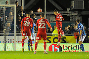 Luke Norris (33) of Swindon Town has a headed shot at goal which is saved by Ryan Clarke (31) of Eastleigh during the The FA Cup match between Eastleigh and Swindon Town at Arena Stadium, Eastleigh, United Kingdom on 4 November 2016. Photo by Graham Hunt.
