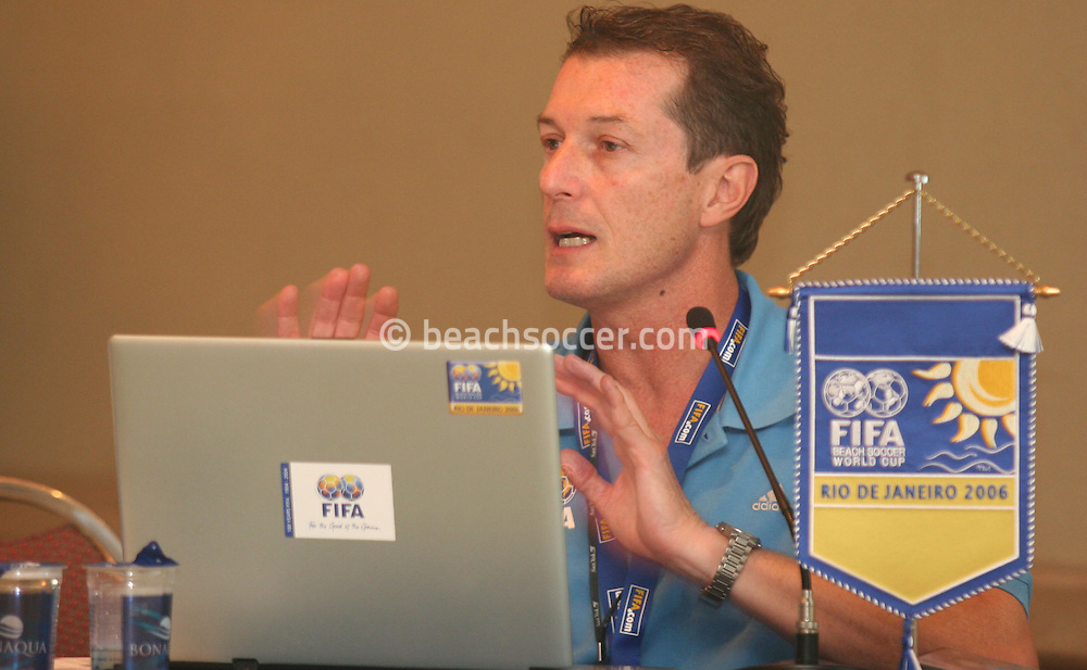 Football - FIFA Beach Soccer World Cup 2006 - Team Coordination Meeting for Group Stage - Rio de Janeiro - Brazil 01/11/2006 - Fulvio Danilas speaks during the meeting -<br /> Event Title Boad Mandatory Credit: FIFA / Ricardo Moraes