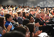 "Sept. 19, 2012 - Hempstead, New York, U.S. - Audience clapping, during lecture by Former Florida Governor Jeb Bush, speaking at Hofstra University about ?America's Promise in Uncertain Times.? This lecture is part of 'Debate 2012 Pride Politics and Policy"" a series of events leading up to when Hofstra hosts the 2nd Presidential Debate between Pres. Barack Obama and Mitt Romney, on October 16, 2012, in a Town Meeting format."