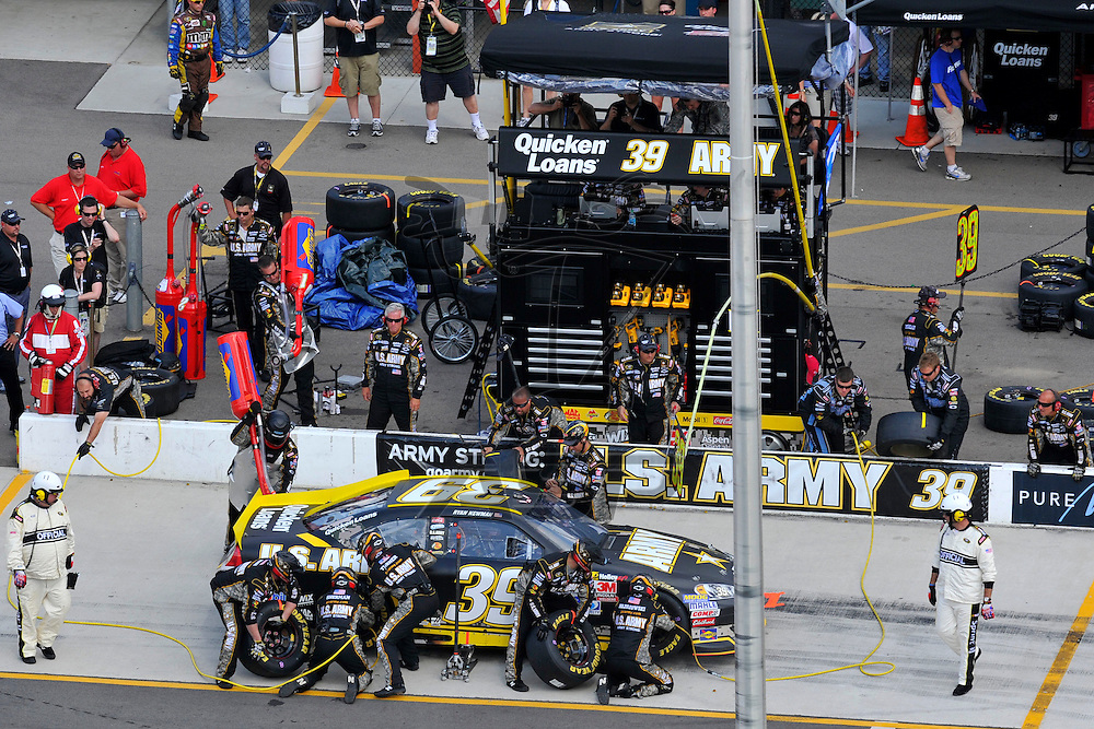 Brooklyn, MI - JUN 17, 2012: Ryan Newman (39) makes a pit stop during race action for the Quicken Loans 400 race at the Michigan International Speedway in Brooklyn, MI.