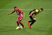 Phoenix player Louis Fenton and Melbourne player Florin Berenguer during their Hyundai A League match. Wellington Phoenix v Melbourne City FC. Westpac Stadium, Wellington, New Zealand. Saturday 26 January 2019. ©Copyright Photo: Chris Symes / www.photosport.nz