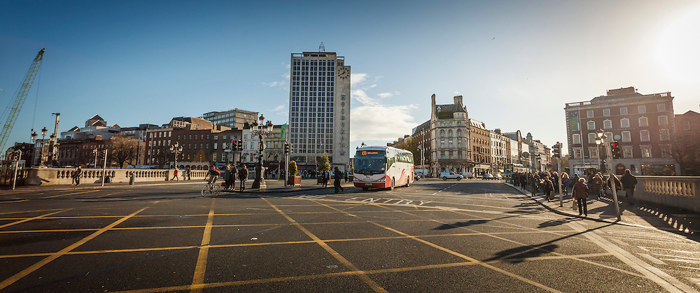 2012: Dublin, Ireland. Panorama of view from O'Connell Street looking back over O'Connell Bridge towards the south side of the City