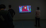 Artist Yayoi Kusama video interview is part of the artist's exhibit at the Hirshhorn Museum in Washington, DC 25 February 2017.