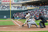 Justin Morneau #33 of the Minnesota Twins bats during a game against the Detroit Tigers on April 3, 2013 at Target Field in Minneapolis, Minnesota.  The Twins defeated the Tigers 3 to 2.  Photo: Ben Krause