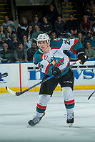 KELOWNA, CANADA - APRIL 25: Cal Foote #25 of the Kelowna Rockets skates against the Seattle Thunderbirds on April 25, 2017 at Prospera Place in Kelowna, British Columbia, Canada.  (Photo by Marissa Baecker/Shoot the Breeze)  *** Local Caption ***
