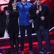 NLD/Hilversum/20121109 - The Voice of Holland 1e liveuitzending, Katty Heath, Sam Holden en Marijn Krabbe