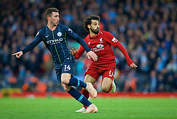 LIVERPOOL, ENGLAND - Sunday, October 7, 2018: Liverpool's Mohamed Salah (R) and Manchester City's Aymeric Laporte during the FA Premier League match between Liverpool FC and Manchester City FC at Anfield. (Pic by David Rawcliffe/Propaganda)
