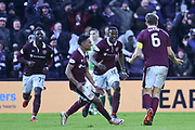 Hearts players celebrate winning goal teed up by Christophe Berra header l in the William Hill Scottish Cup 4th round match between Heart of Midlothian and Hibernian at Tynecastle Stadium, Gorgie, Scotland on 21 January 2018. Photo by Kevin Murray.