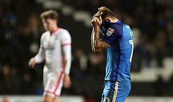 Danny Lloyd of Peterborough United cuts a dejected figure at full-time - Mandatory by-line: Joe Dent/JMP - 30/12/2017 - FOOTBALL - Stadium MK - Milton Keynes, England - Milton Keynes Dons v Peterborough United - Sky Bet League One