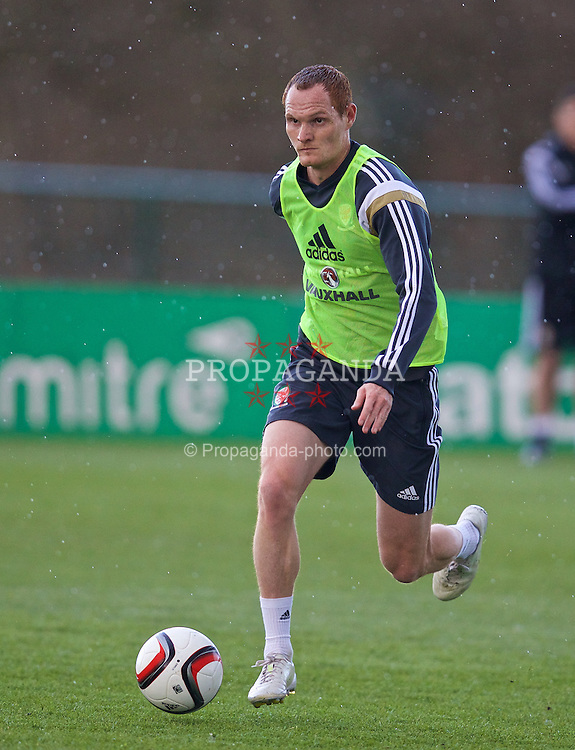 CARDIFF, WALES - Tuesday, March 24, 2015: Wales' Shaun MacDonald during a training session at the Vale of Glamorgan ahead of the UEFA Euro 2016 qualifying Group B match against Israel. (Pic by David Rawcliffe/Propaganda)