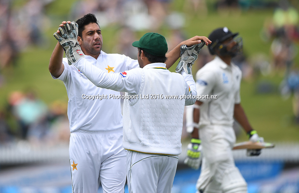 Imran Khan celebrates the wicket of Raval.<br /> New Zealand Black Caps v Pakistan. Day 2, 2nd test match. Saturday 26 November 2016. Seddon Park, Hamilton, New Zealand. &copy; Copyright photo: Andrew Cornaga / www.photosport.nz