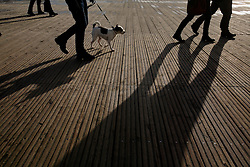 GERMANY ST PETER ORDING 30DEC12 - ..Long shadows of people walking on the boardwalk promenade at St. Peter Ording in northern Germany...Sankt Peter-Ording is a popular German seaside spa and the only German seaside resort that has a sulphur spring...jre/Photo by Jiri Rezac....© Jiri Rezac 2012